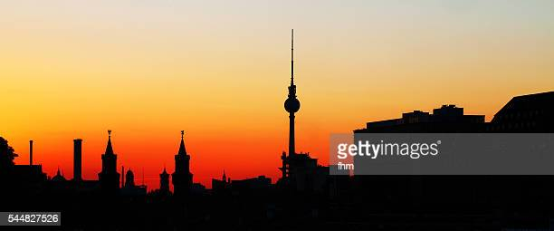Berlin skyline silhouette at sunset - TV-Tower, City hall, Cathedral dome, Oberbaumbrücke