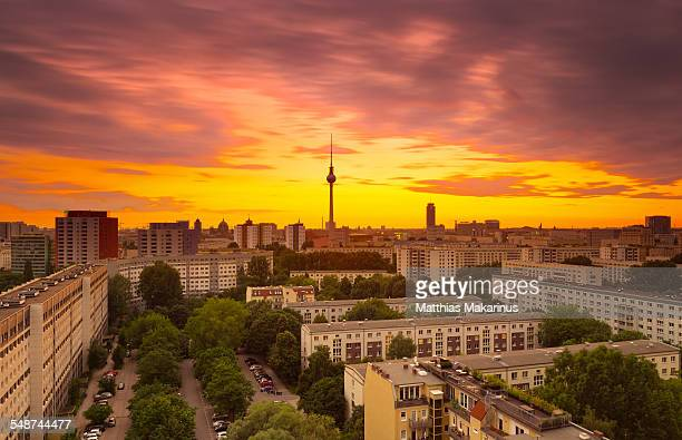 berlin skyline summer cityscape with sunset - friedrichshain stock photos and pictures