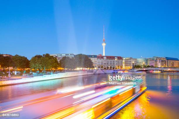 Berlin Skyline Summer Light Night with Lightships on Spree River