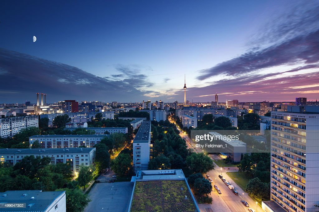 Berlin skyline sunset with Television Tower : Stock Photo