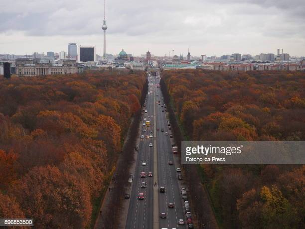 Berlin skyline view The east down Strasse des 17 Juni to the Brandenburg Gate seen from the top of the Victory Column designed by Heinrich Strack...