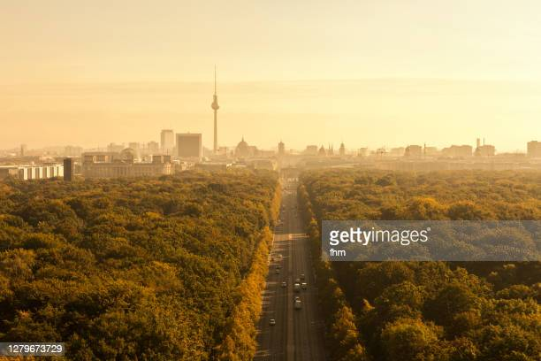 berlin skyline with brandenburg gate and television tower - berlin stock pictures, royalty-free photos & images