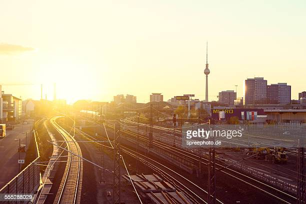 Berlin skyline with railroad tracks