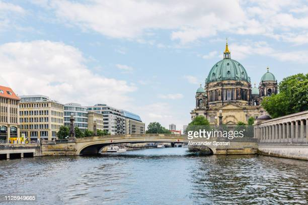 berlin skyline with spree river and berlin cathedral, germany - spree river stock pictures, royalty-free photos & images