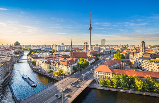Berlin skyline with Spree river at sunset, Germany 503874284