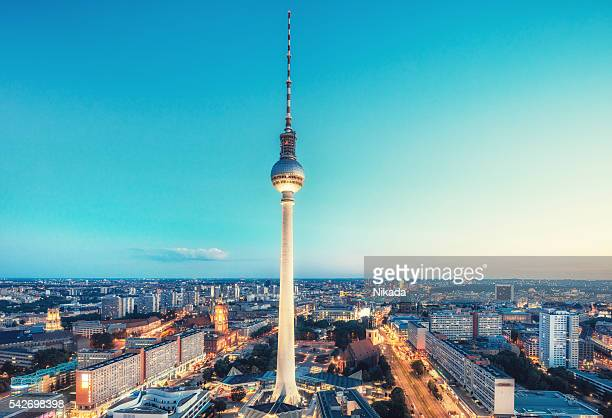 Berlin Skyline with TV tower at Alexanderplatz at dusk