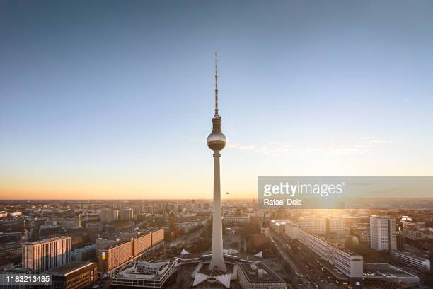 berlin skyline with tv tower - berlin stock-fotos und bilder