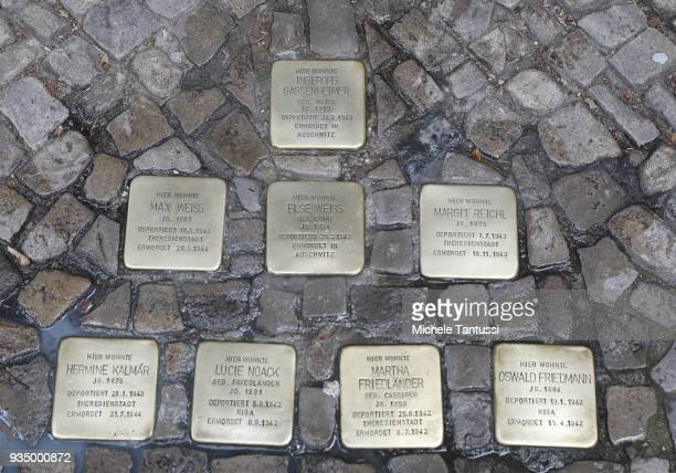 """Berlin Some of the """"Stolpersteine"""" memorials to Holocaust victims on March 20, 2018 in Berlin, Germany. """"Stolpersteine"""" are a European-wide project..."""