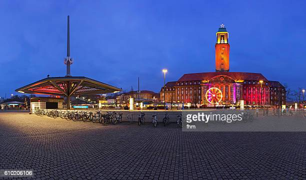 berlin - spandau district with town hall, subway station and christmas market - spandau stock pictures, royalty-free photos & images