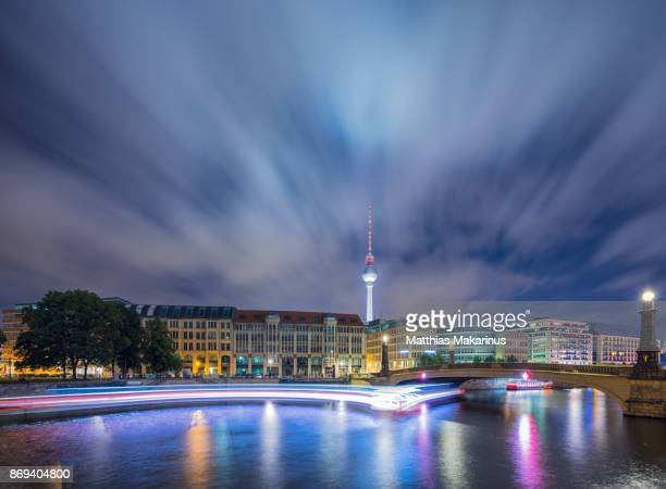 Berlin Spree Skyline with Night Cloud Explosion and Light Dynamic