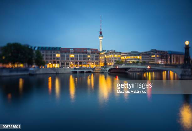 berlin spree skyline with television tower - spree river stock pictures, royalty-free photos & images