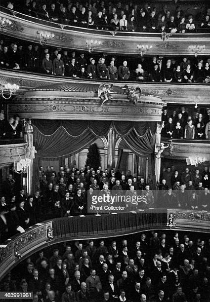 Berlin State Opera House Remembrance Day Germany 1934 Nazi leader Adolf Hitler is in the front row of the people in the box A print from Adolf Hitler...