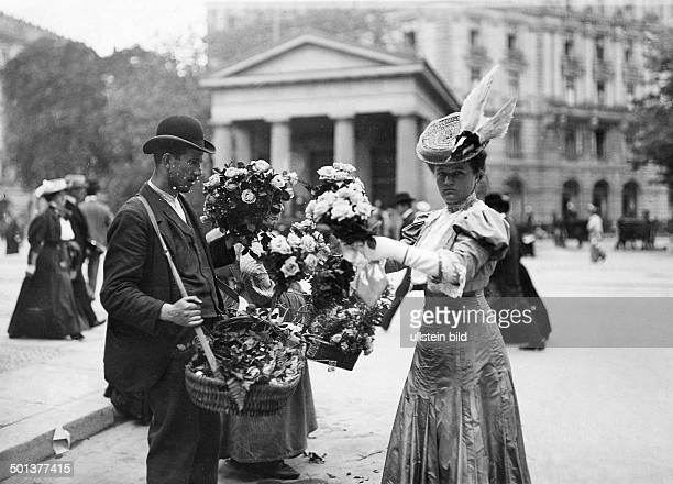 Berlin street scenes Flower seller at Potsdamer Platz square Berlin 1910