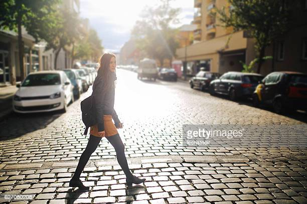 berlin street style portrait - models in pantyhose stock photos and pictures
