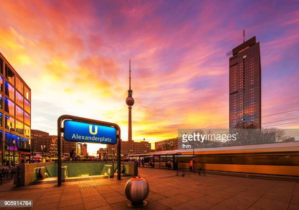 berlin sunset: alexanderplatz (germany) - central berlin stock pictures, royalty-free photos & images