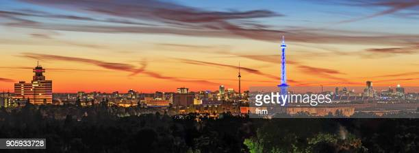 Berlin sunset: Skylinewith TV-Tower and Radiotower (Germany)