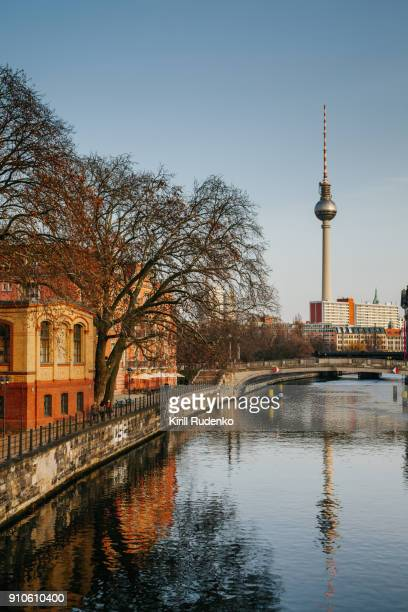 berlin television tower - central berlin stock pictures, royalty-free photos & images