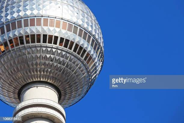 berlin - television tower with blue sky (alexanderplatz/ germany) - television tower berlin stock pictures, royalty-free photos & images