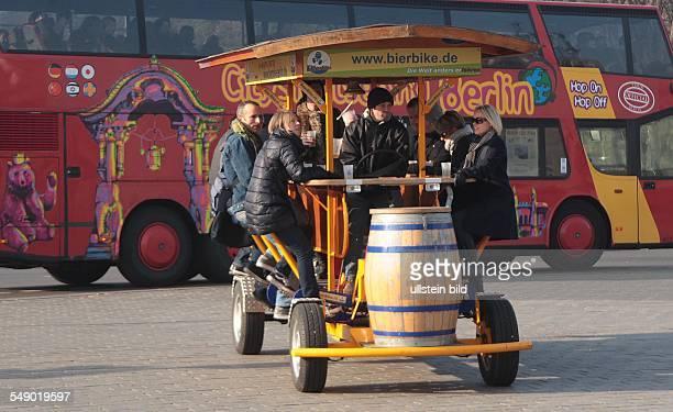Berlin, tourists on a beer bike