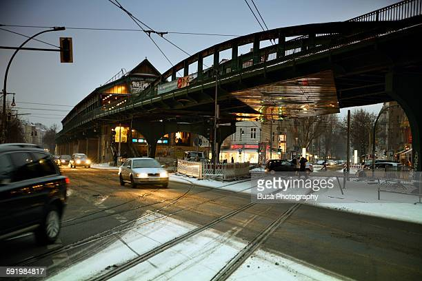 Berlin, traffic under the elevated railway line