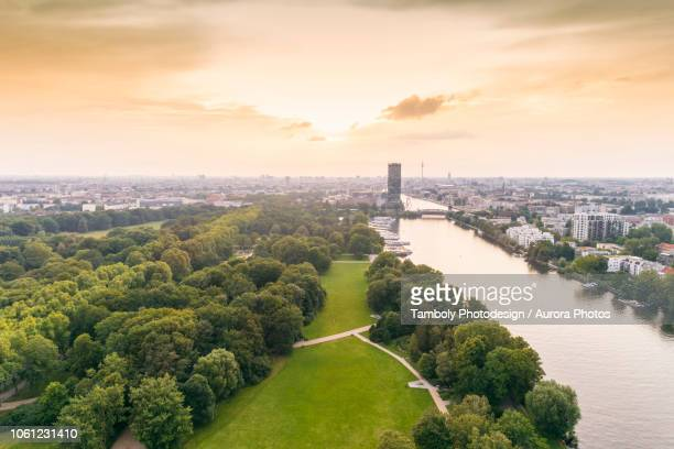 berlin treptower park with city skyline on background, berlin, germany - kreuzberg stock photos and pictures