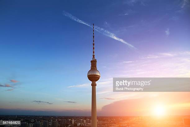 Berlin, TV Tower (Fernsehturm) at sunset, Berlin, Germany