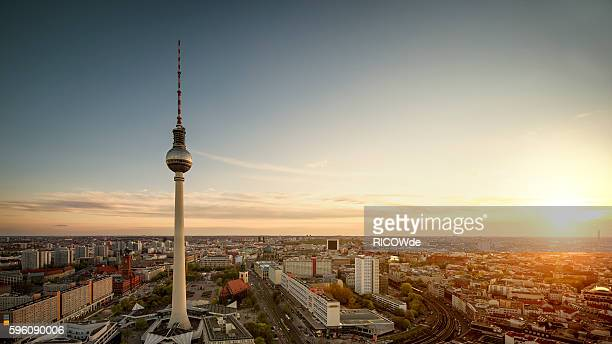 berlin tv tower at sunset