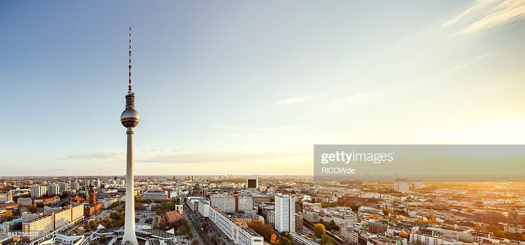 berlin tv tower at sunset : Stock Photo