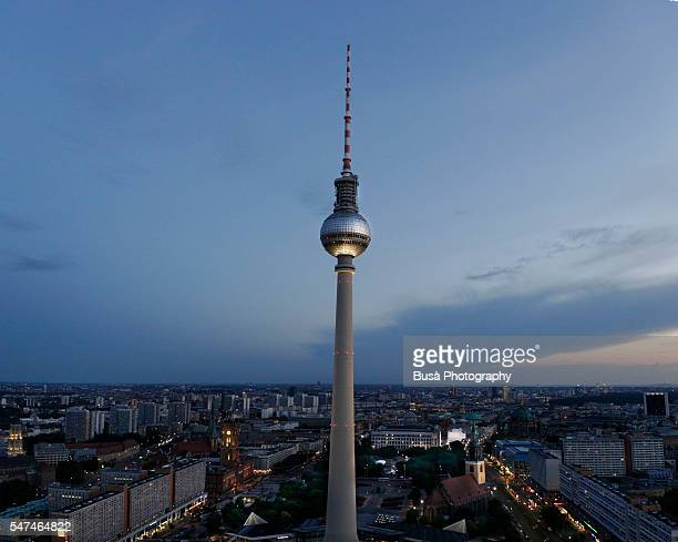 Berlin, TV Tower (Fernsehturm) at twilight, Berlin, Germany