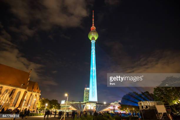 Berlin TV-Tower in special illumination (Berlin/ Germany)