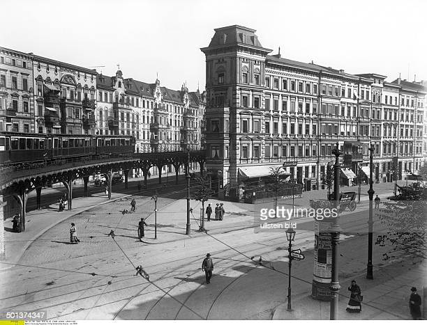 view of the road junction Oppelner Strasse and Schlesische Strasse in the district of Kreuzberg nearby the underground station Schlesisches Tor...