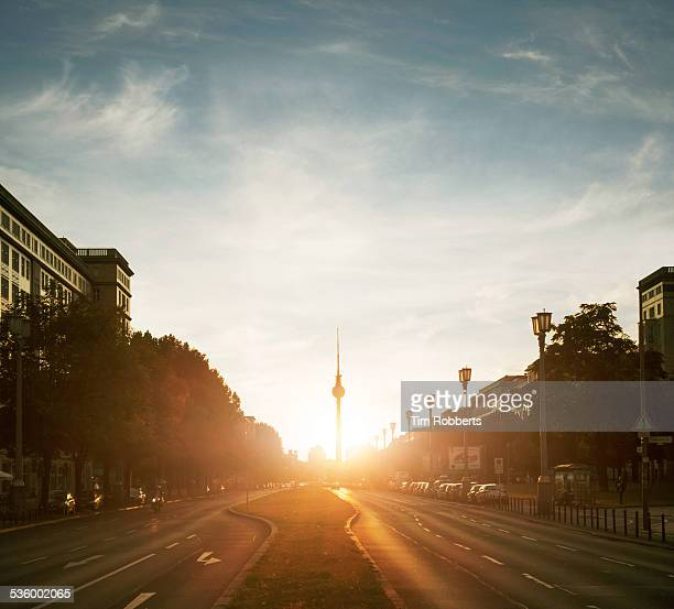 berlin, view towards tv tower. - berlin stock-fotos und bilder