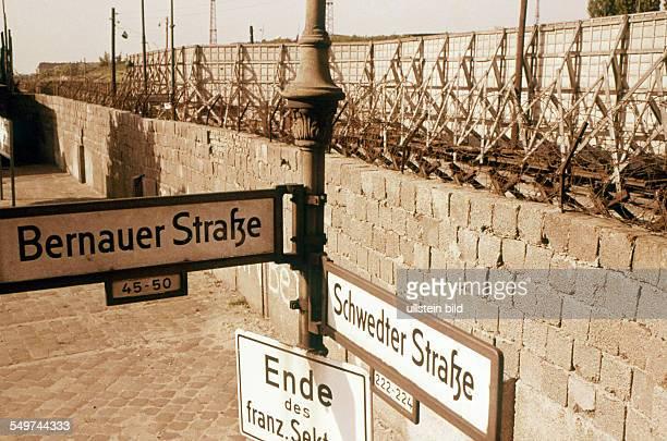 Berlin Wall at the corner Bernauer Strasse / Schwedter Strasse in BerlinWedding 60ies