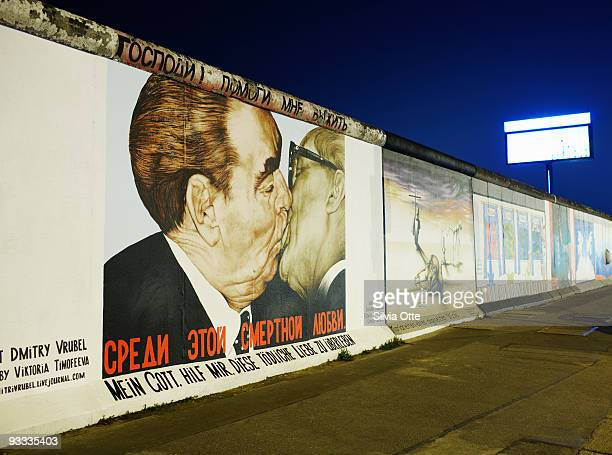 Berlin wall with painting of Honecker and Brezhnev