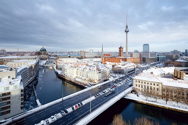 Berlin Winter Cityscape With Snow On The Roofs Wall Art