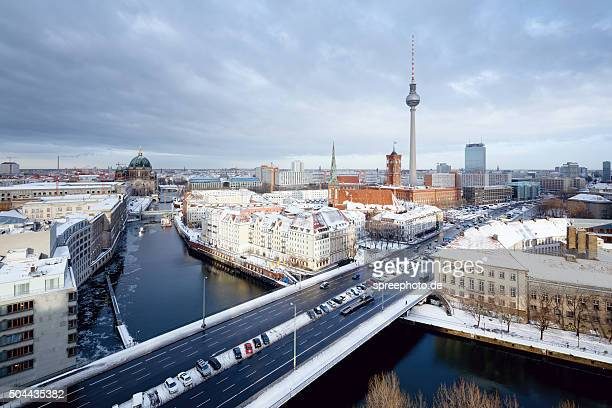 Berlin winter cityscape with snow on the roofs