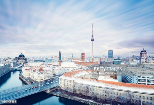 berlin winter skyline with cloud dynamic - berlin stock pictures, royalty-free photos & images