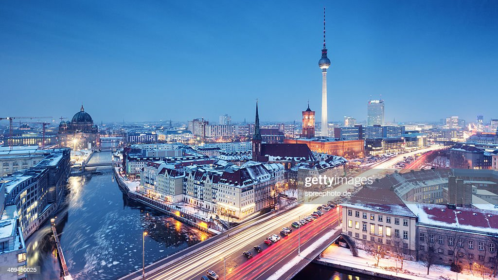 Berlin winter skyline with snow on the roofs : Stock Photo