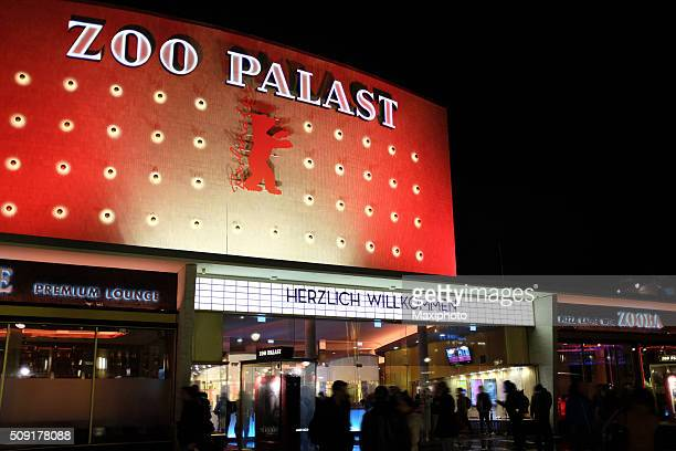 berlinale 2016: people waiting outside zoo palast movie theatre - zoo palast berlinale stock pictures, royalty-free photos & images