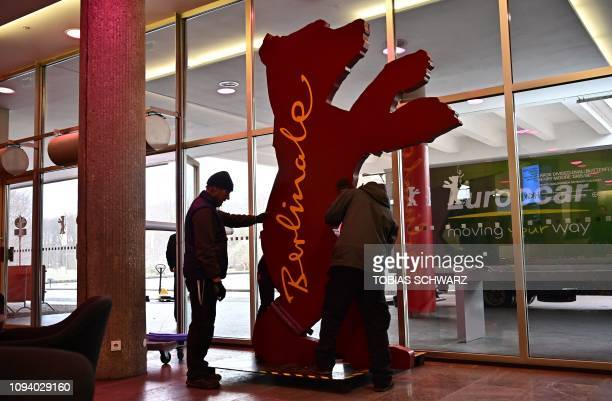 A Berlinale bear figure is set up at the 'Haus der Kulturen der Welt' venue before the start of the international film festival in Berlin on February...