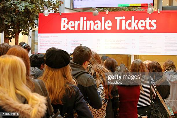 Berlinale Film Festival, Berlin: people queing to buy event tickets