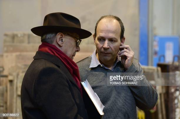 Berlinale film festival Director Dieter Kosslick talks with fourthgeneration Hermann Noack during the creation of the bear trophies for the upcoming...