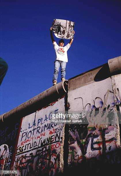 Berliner celebrates the fall of the Berlin Wall on November 10th 1989