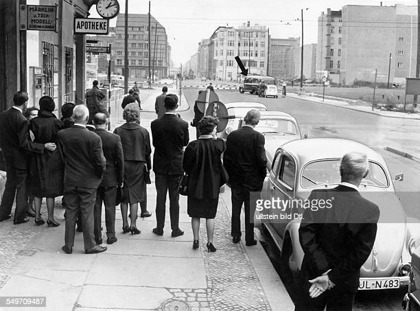BerlinKreuzberg border crossing point Checkpoint Charlie a funeral party in the western part of the city cannot join the funeral of their deceased...