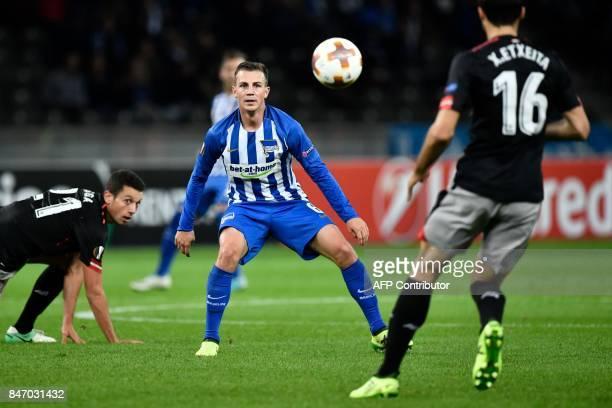 Berlin's Czech midfielder Vladimir Darida receives the ball during the UEFA Europa League group J football match Hertha Berlin v Athletic Bilbao in...
