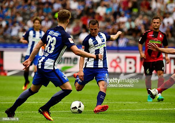 Berlin's Czech midfielder Vladimir Darida scores 1:0 during the German first division Bundesliga football match of Hertha BSC Berlin vs SC Freiburg...