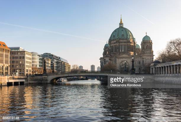 berlin's famous landmark, the berlin cathedral at sunset. - istock stock pictures, royalty-free photos & images