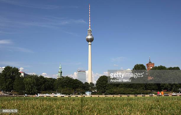 Berlin's highest building the television tower Berliner Fernsehturm is pictured on August 6 2009 in Berlin Germany Berlin is the most interesting...
