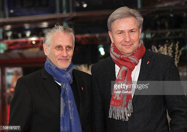 Berlin's mayor Klaus Wowereit and partner Joern Kubicki attend the 'Mein Bester Feind' Premiere during day seven of the 61st Berlin International...