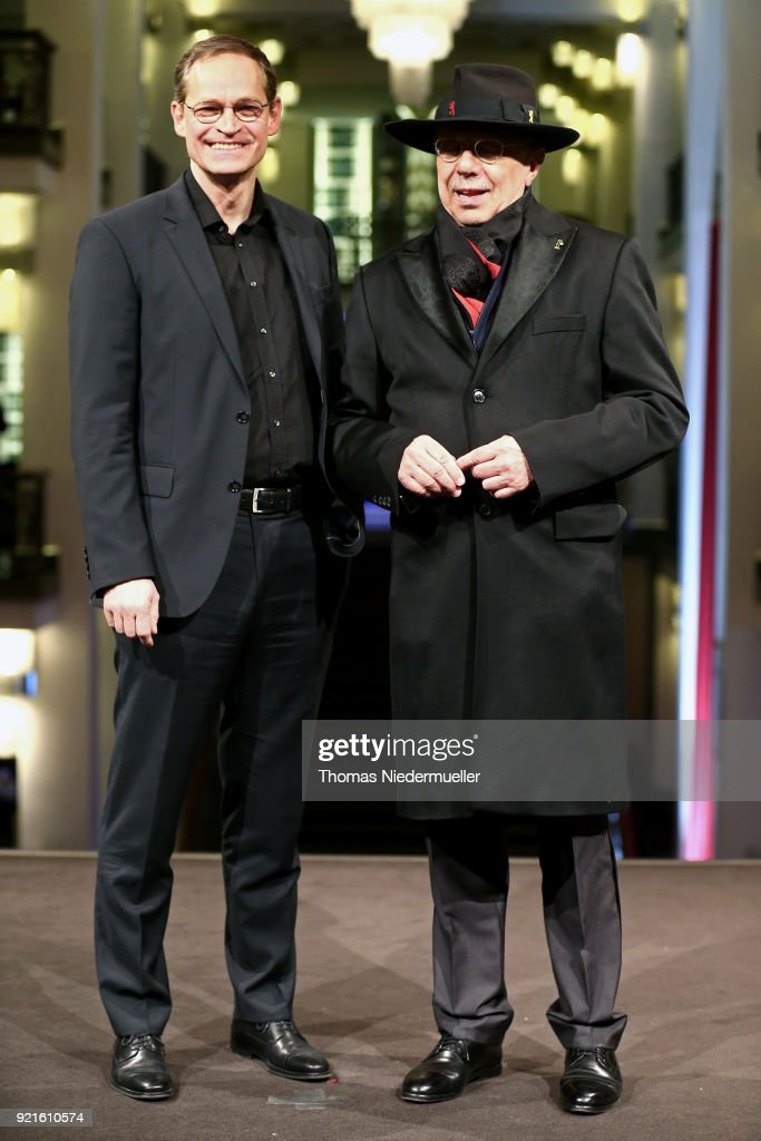 Berlin's mayor Michael Mueller and festival director Dieter Kosslick attend the 'The Silent Revolution' (Das schweigende Klassenzimmer) premiere during the 68th Berlinale International Film Festival Berlin at Friedrichstadtpalast on February 20, 2018 in Berlin, Germany.
